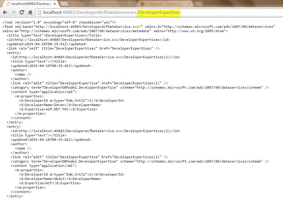 WCF Service XML Model