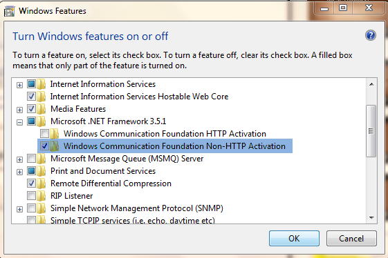 WCF Non-Http Activation