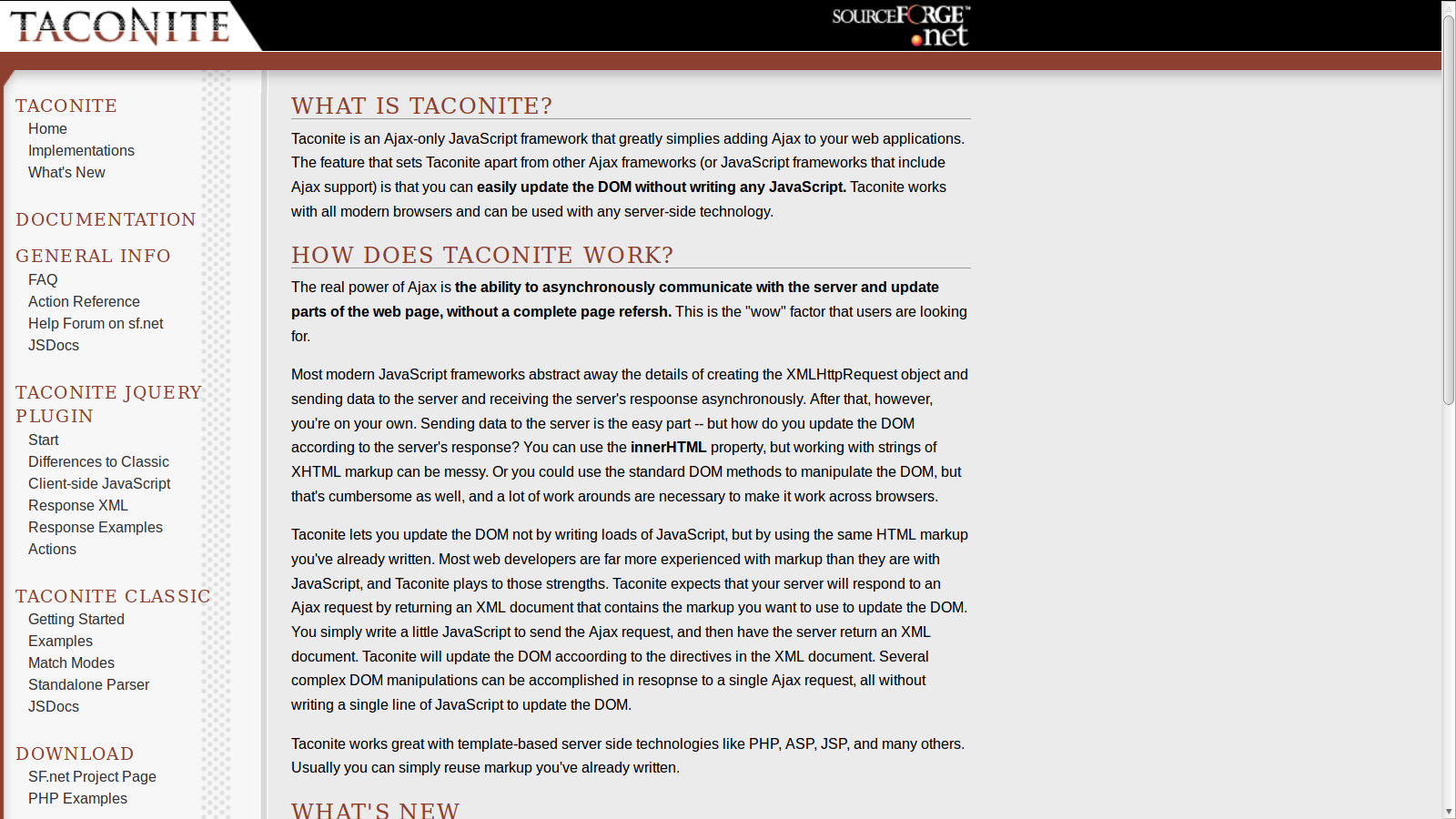 Taconite AJAX Framework