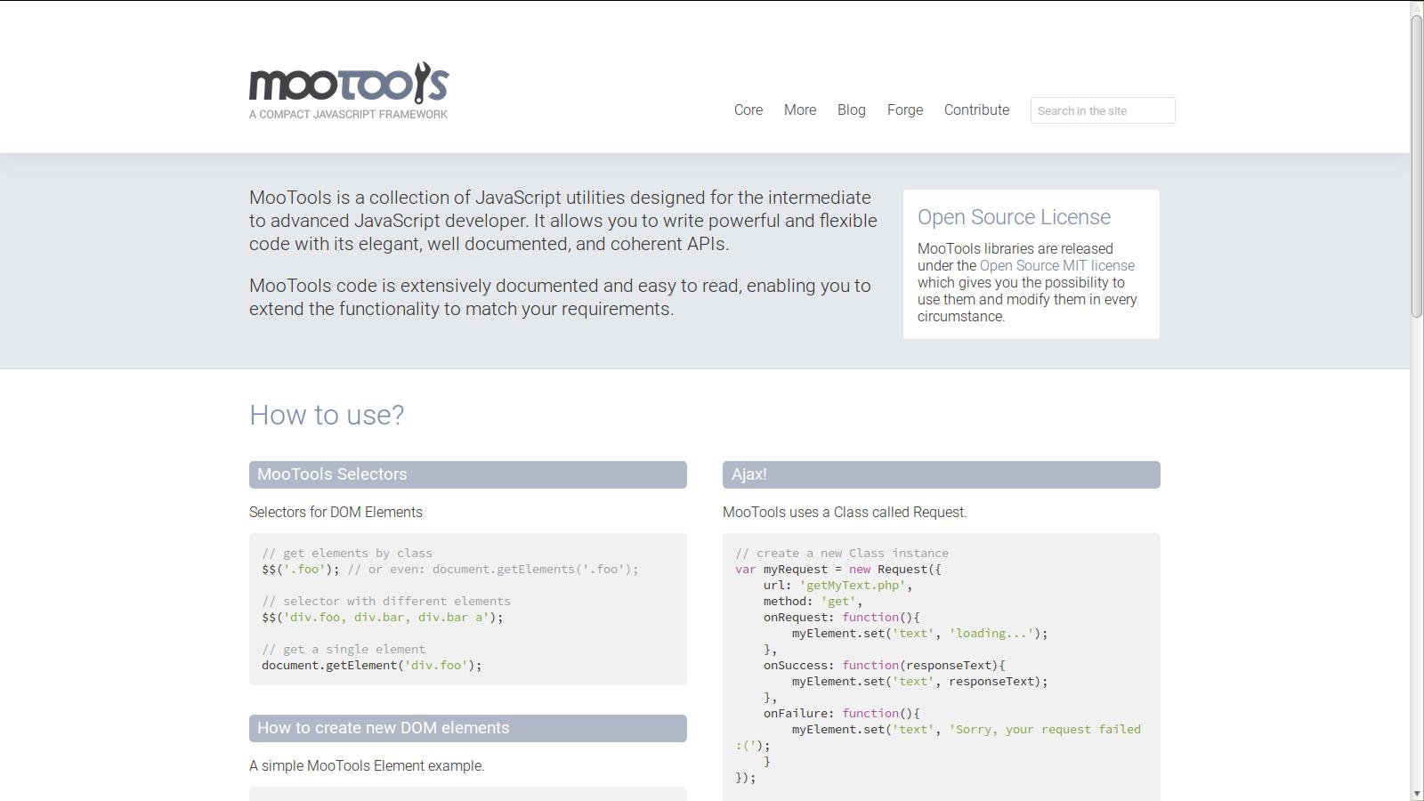 MooTools AJAX Framework